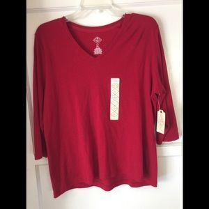 🆕 St. John's Bay Rumba Red PXL 3/4 Sleeve Top